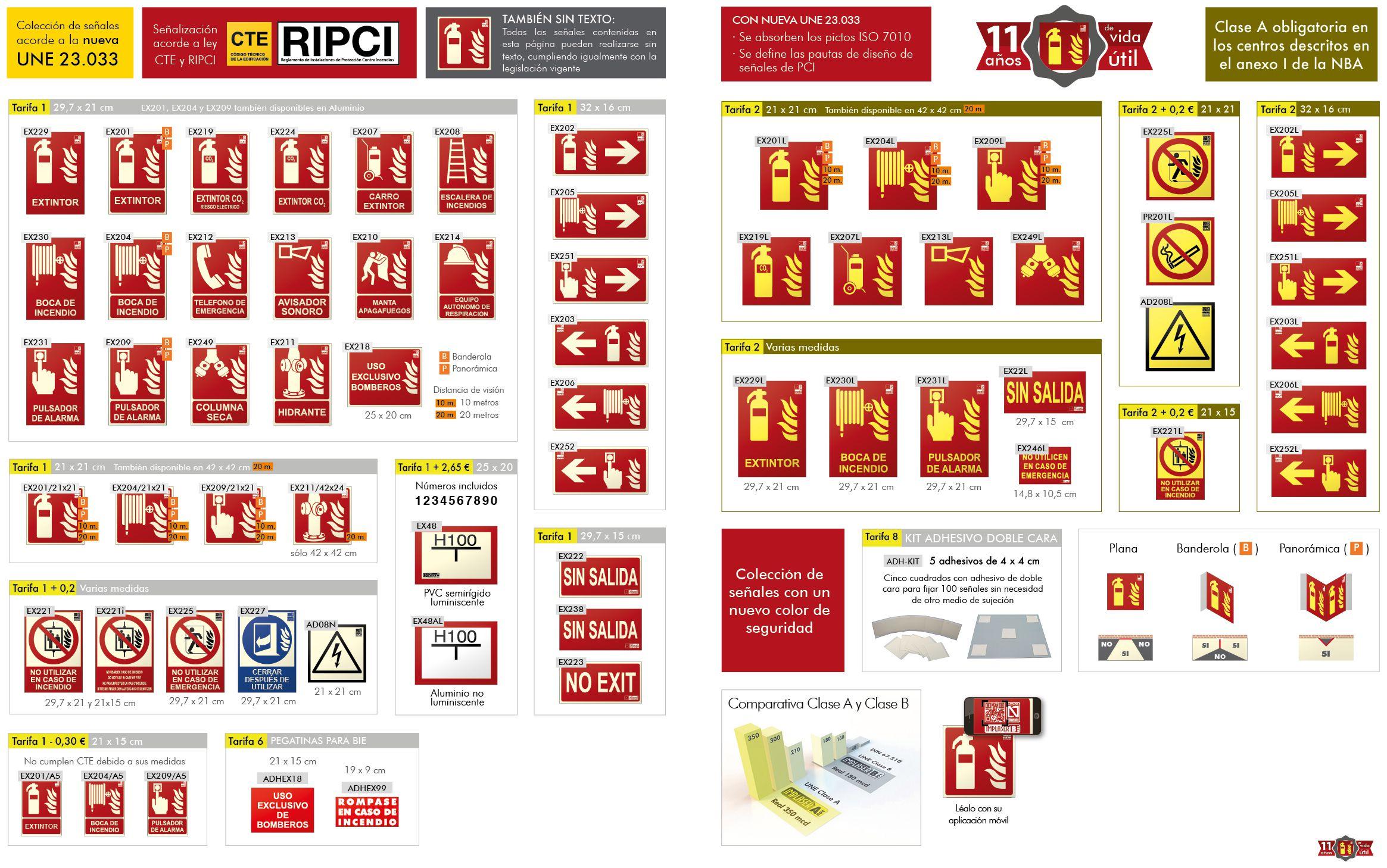 Senyals UNE per a equips anti incendis