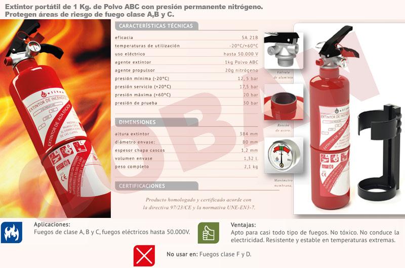 Extintores de polvo de 1kg