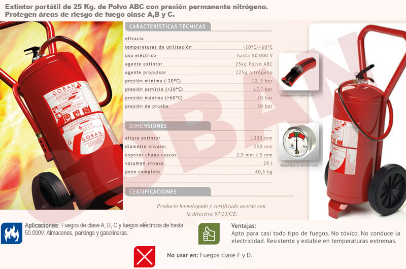 Extintores de polvo de 25kg