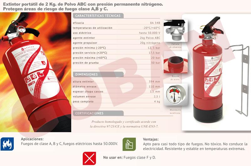 Extintores de polvo de 2kg