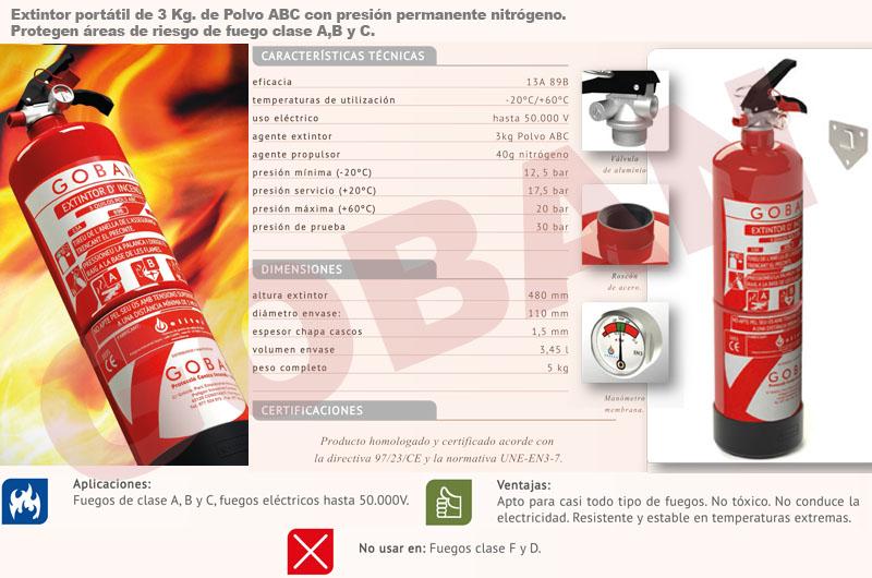 Extintores de polvo de 3kg