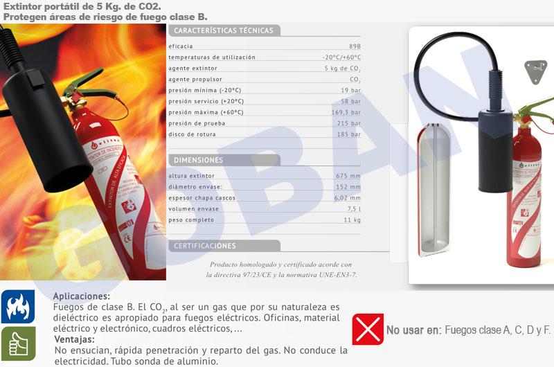 Extintores de CO2 de 2kg