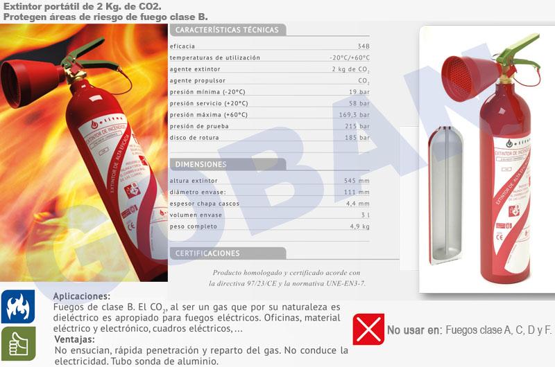 Extintor portatil de CO2 de 2kg