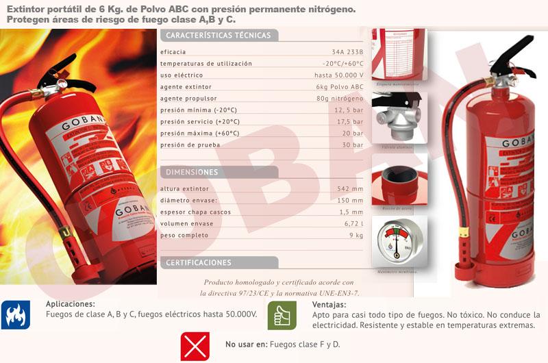 Extintores de polvo de 6kg