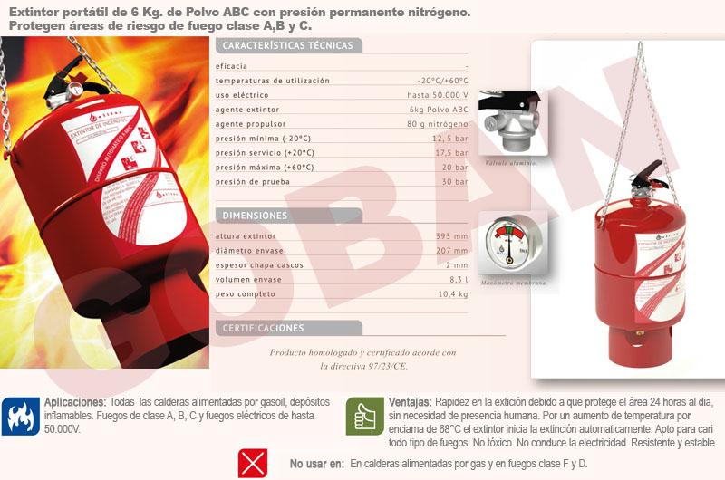Extintor automático de 6 Kg
