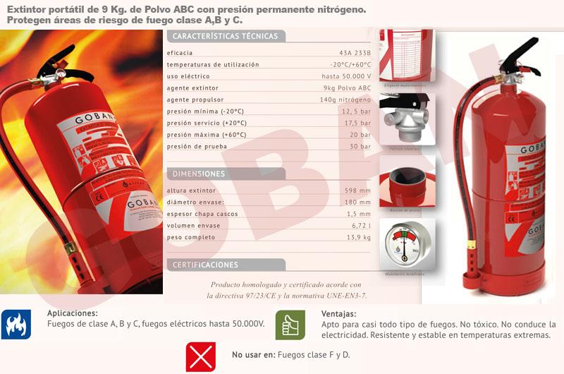 Extintores de polvo de 9kg ancho