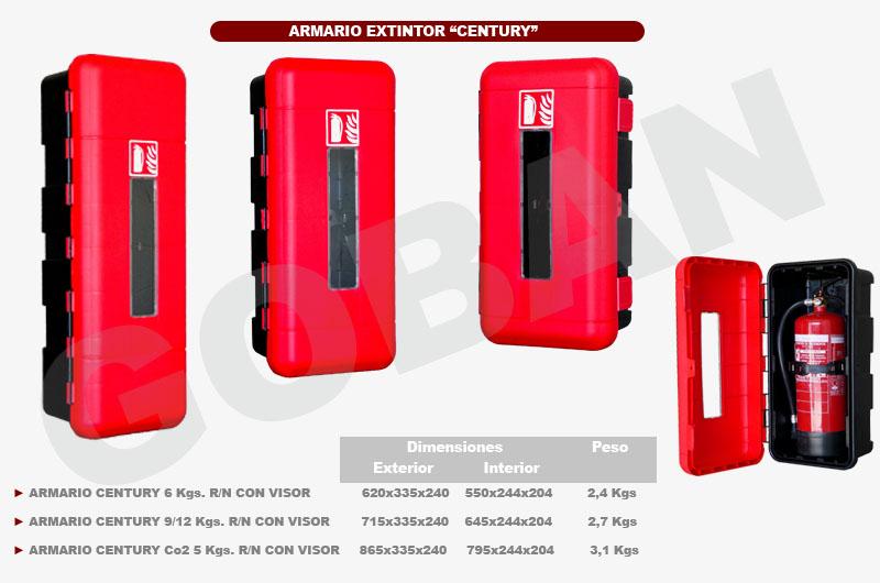 Armarios de polipropileno para extintores