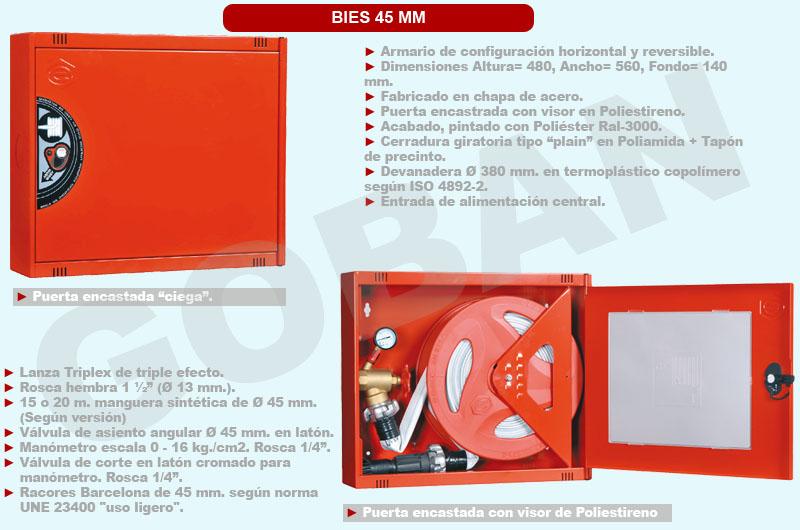 BIE de 45mm o boca de incendio equipada