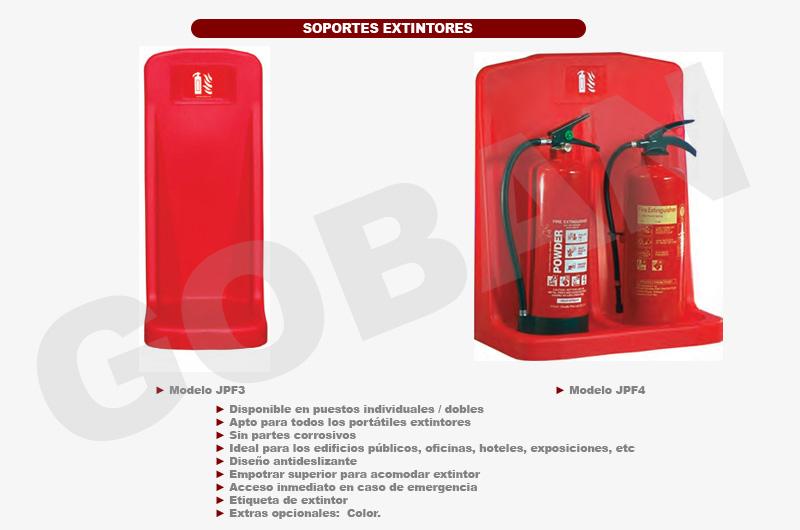 Soportes de pared rojos para extintores